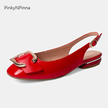 2019 new women soft patent leather slingback wide metal toe buckle red dancing preppy flat casual cute shoes plus size 34-43 цена