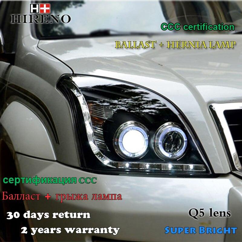 Hireno Car styling Headlamp for 2003-2009 Toyota Land Cruiser Prado Headlight Assembly LED DRL Angel Lens Double Beam HID Xenon