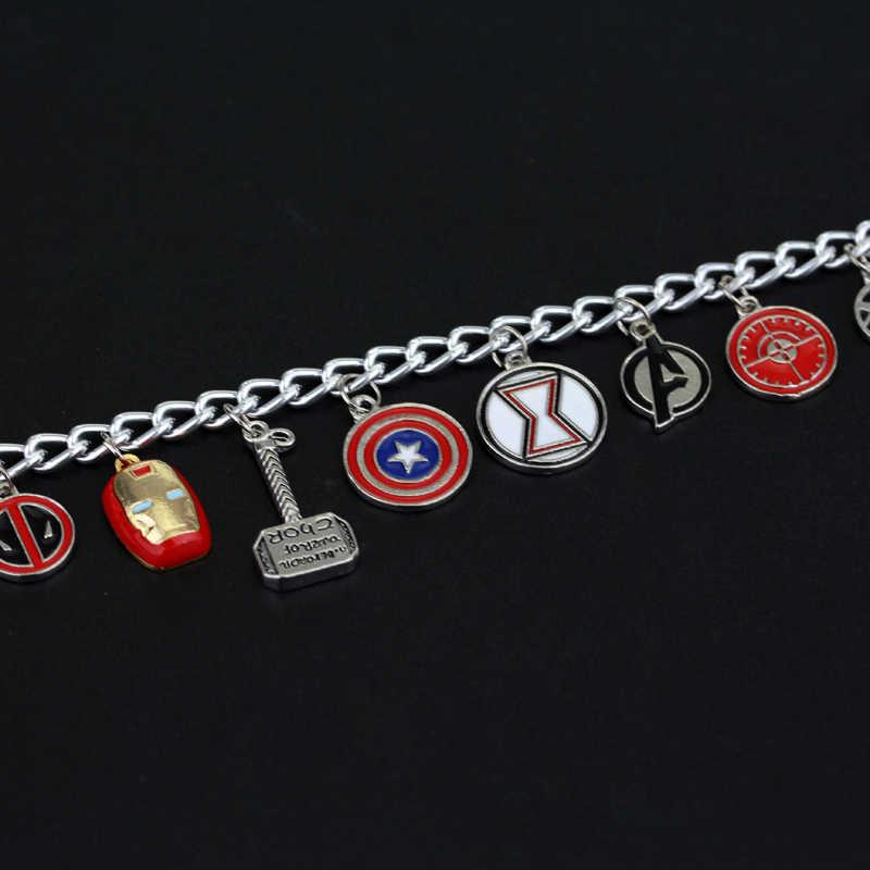 Vingadores Marvel dongshengSuperhero Esmalte Logotipo Capitão América Homem De Ferro Escudo Deadpool Maravilha Mulheres Charm Bracelet para As Mulheres-25