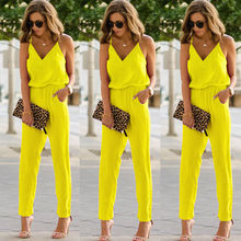 Sexy Women Off Shoulder Jumpsuit  Rompers spaghetti strap wide legs MT