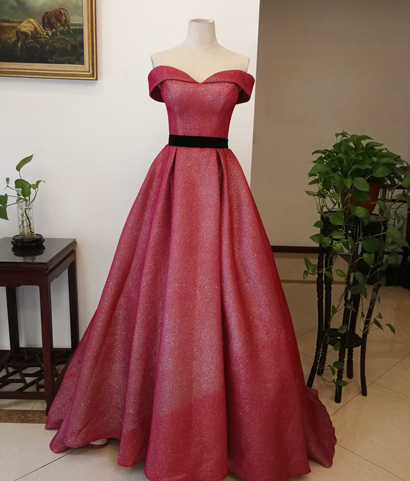 Wine Red Evening Dress Boat Neck A-Line Floor Length Black Sashes Plus Size Prom Dress Party Gowns Vestido Longo Festa For Women
