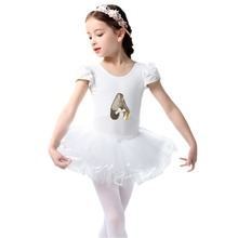 2019 New Fashion Tutu Ballet Dress Girls Dancewear Flower Sequin Short Sleeve for Child Slim Mini Skating Dresses