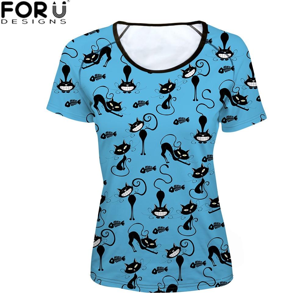 FORUDESIGNS Funny Cat shirt Women Kawaii t-shirt Tom 3D Printed tshirts Slim-fit Fitness tshirt Female Tops tee 2018