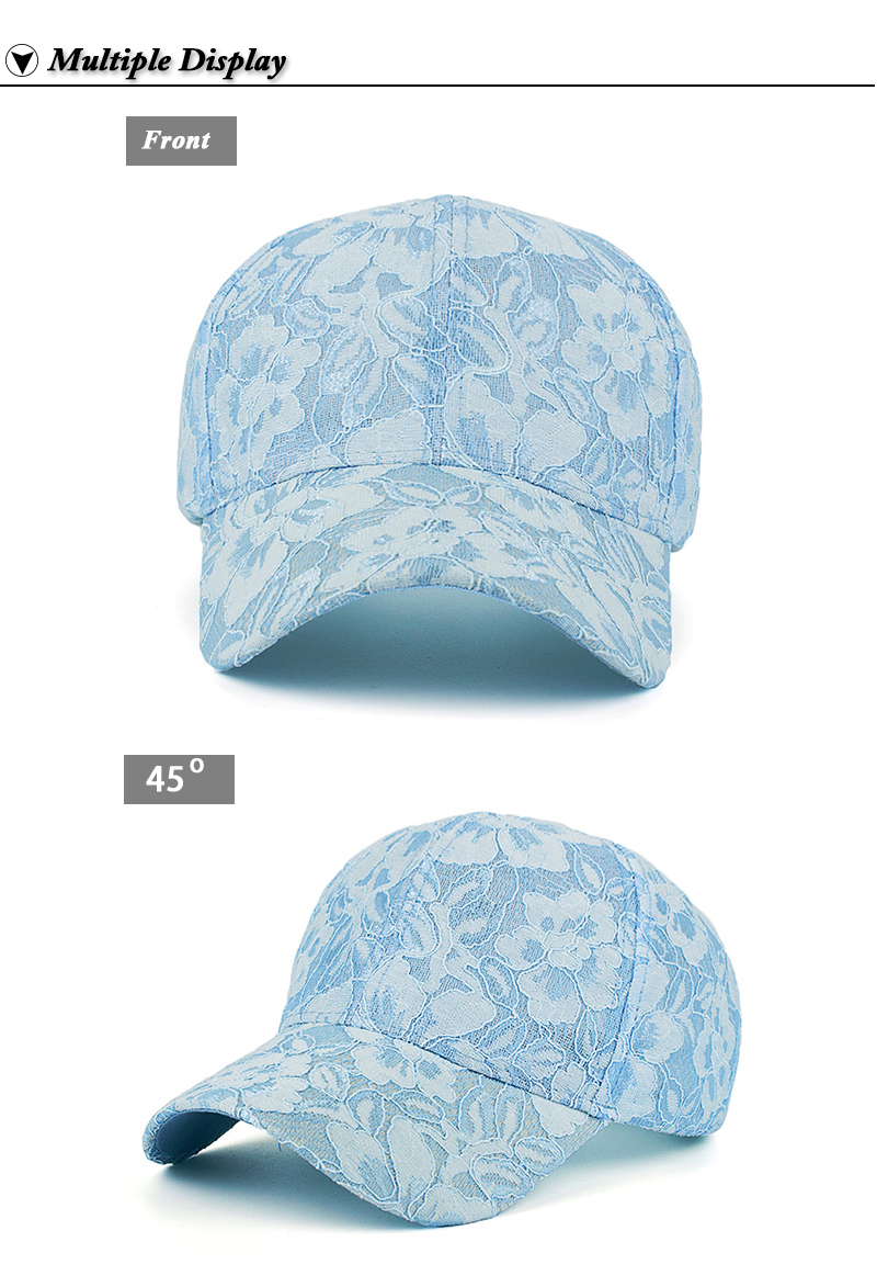Floral Lace Over Denim Snapback Cap - Baby Blue Cap Front and Side Angle Views