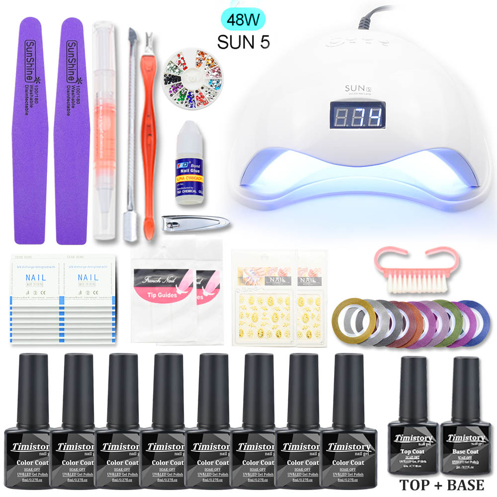 Nail Manicure Set For Manicure Gel Nail Polish Kit Nail Art Sets 48W/40W/36W Nail Dryer UV LED Lamp Tools For Manicure Tools Kit 36w uv gel kit with lamp for nail uv gel dryer nail art kit nail brush tools for manicure extension set french tips manicure set