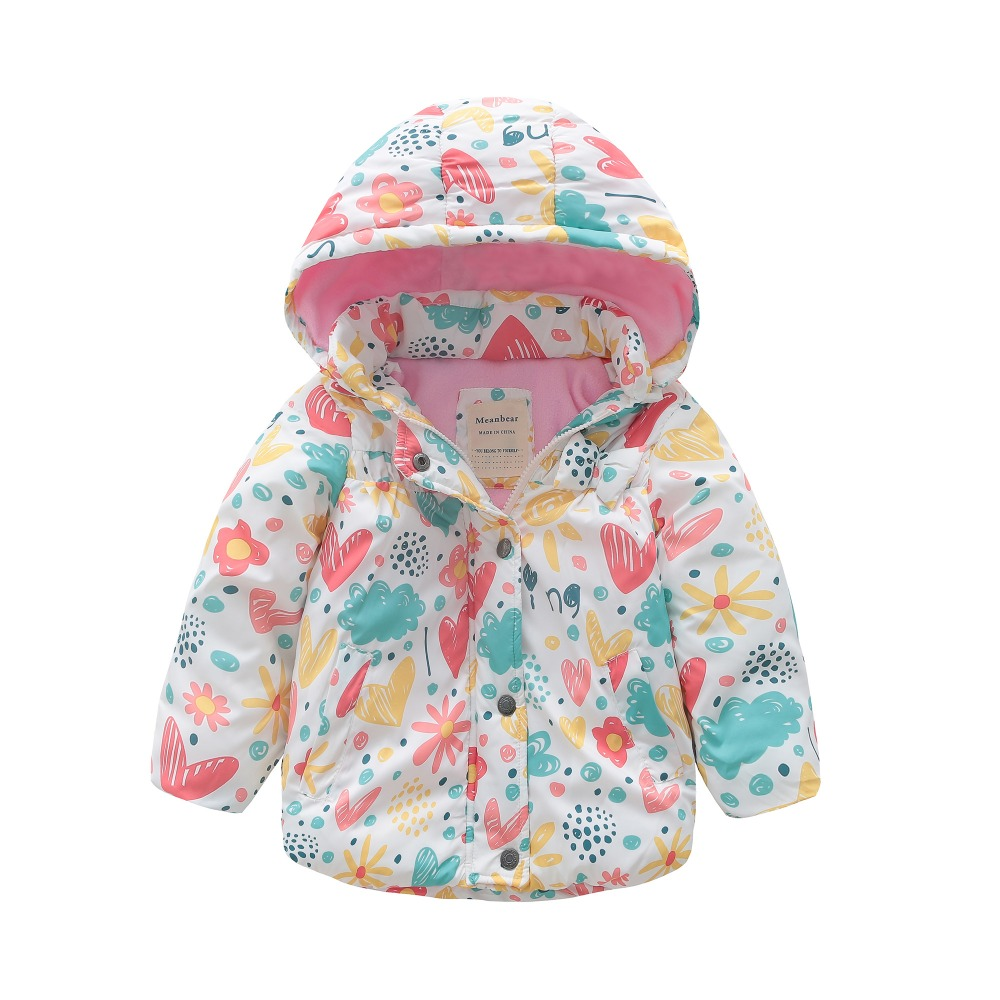 все цены на M117 Winter Child Thicken Warm Padded Lining Jacket Print Hooded Boys Parka Coats Kids Tops Spring Autumn Outwear Girls Jacket