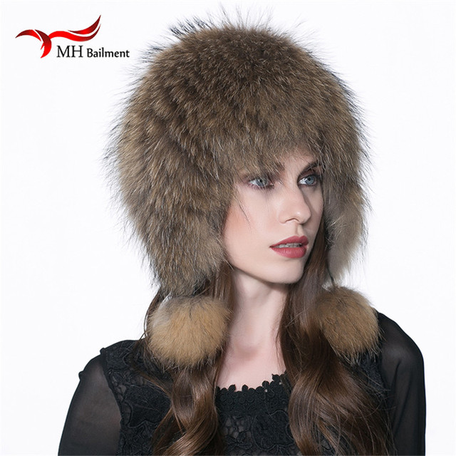 Women winter fur hat genuine fox fur hats knitted silver fox fur caps female russian bomer caps W#06