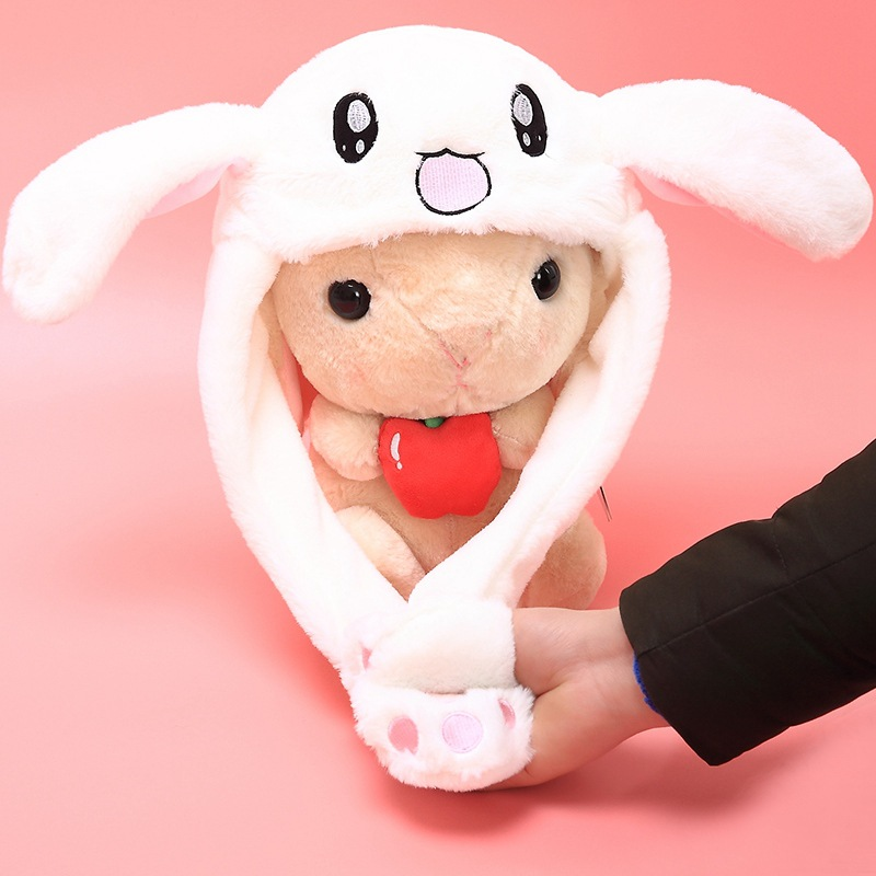 New Style attractive kids Cuddly Moving Ear Rabbit Hat Dance Plush Toy For Gift Women Party Stage Hats Props