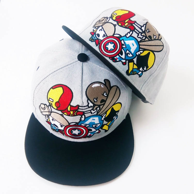 2018 New Cotton Cartoon Marvel Avengers America Captain Iron Man   Baseball     Caps   For Men Women Adjustable Hip Hop Snapback Hat
