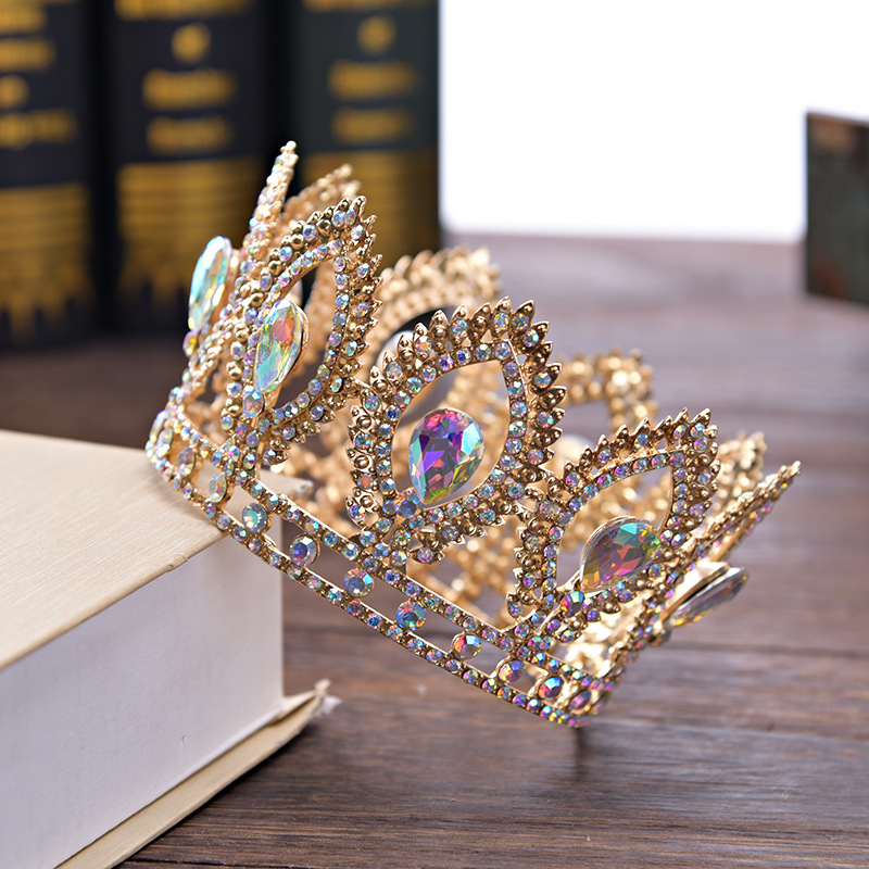 DIEZI Small Size Luxury Baroque Gold Crystal Flower Crown Tiaras For Women AB Rhinestone Girls Tiaras Bride Wedding Hair Jewelry