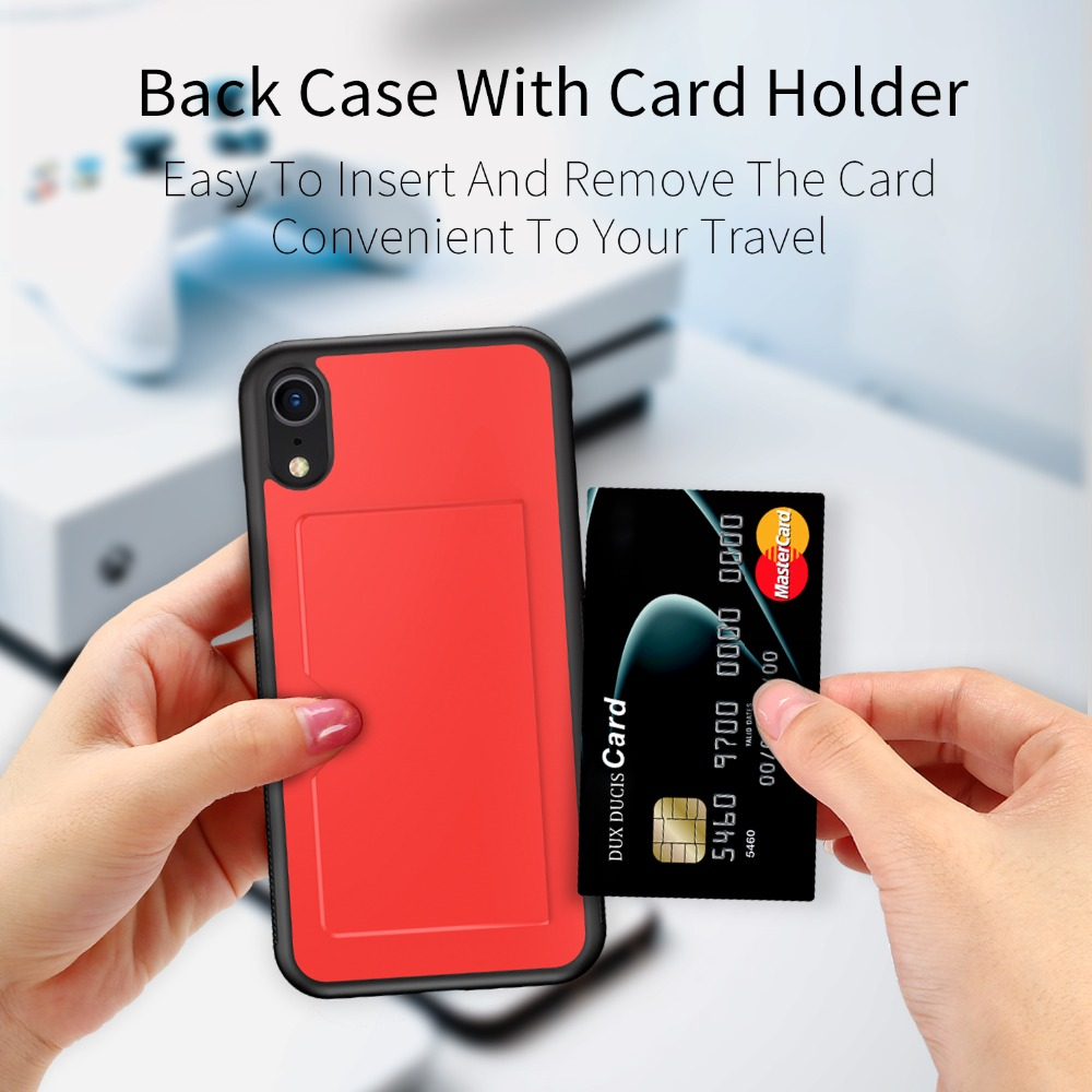 Galleria fotografica PU Leather Card Case for iPhone Xr Wallet Credit Card Slot Back Cover for iPhone Xr Case 6.1 inch Shockproof Phone Cover 2018