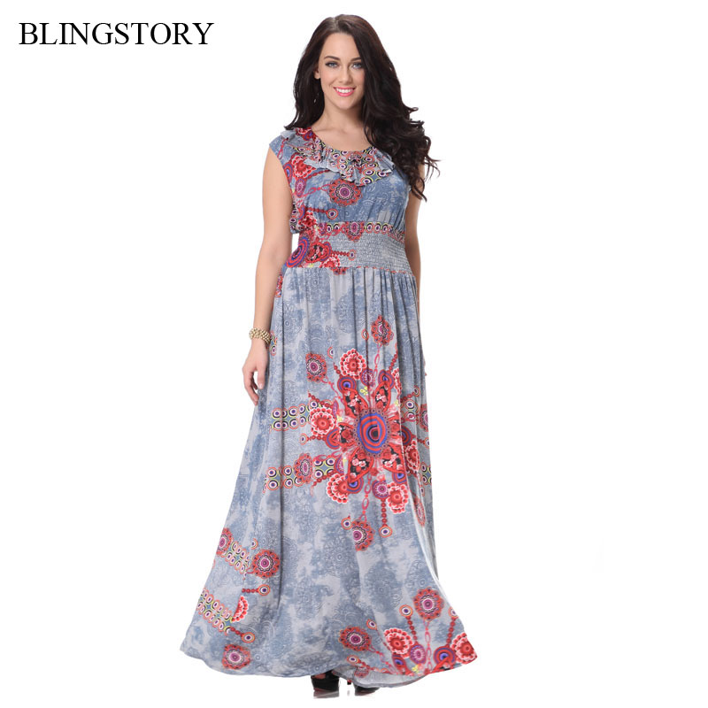 BLINGSTORY Fashion Retro Sleeveless floral printed sexy summer women clothes womens plus size maxi dresses L-7XL CM7026