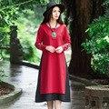 Women Autumn Long Dress Cotton Linen Stitching Boho Maxi New Art Style Fashion Long Sleeve O Neck A Line Dresses