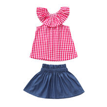 Girls clothes Casual Children Sets Toddler Baby Girl Plaid Ruffles Sleeveless Tops T-Shirt Denim Skirt Clothes Sets dropshipping(China)