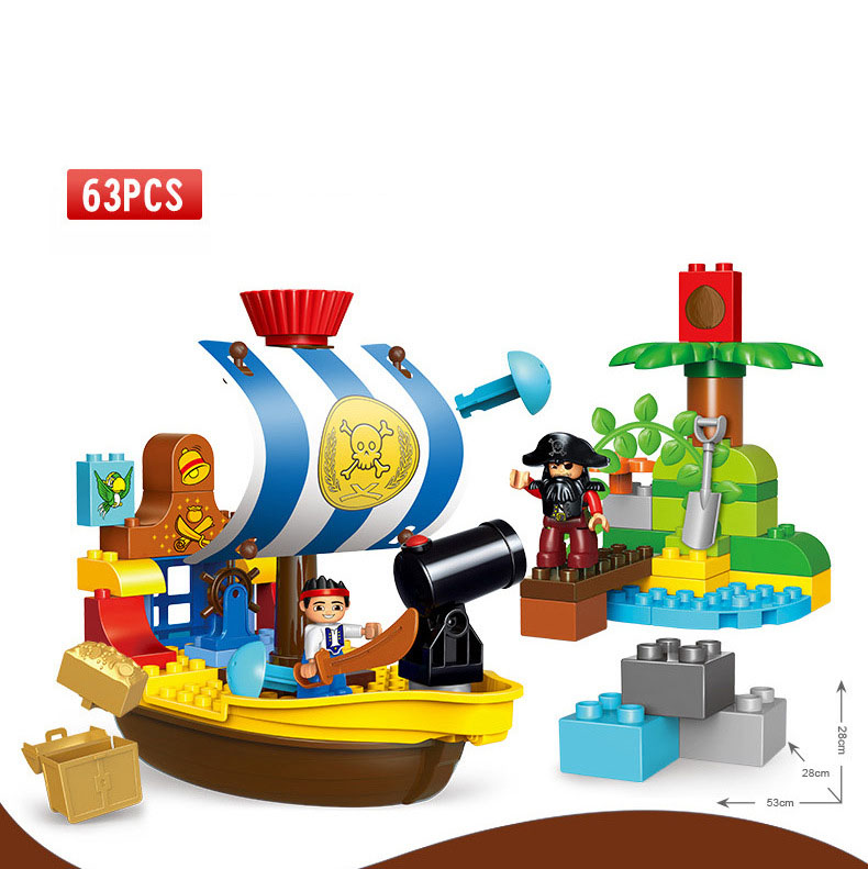 GOROCK 63 pièces série Pirate le bateau Pirate de Jake modèle Bucky gros blocs de construction de particules Set jouets compatibles avec les cadeaux Duploe