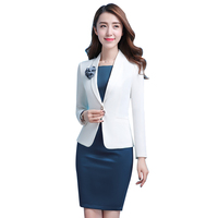 fc91247180911 Women White Office Lady Dress Suits 2 Two Piece Sets Elegant Notched Jacket  Blazer Fashion Sheath