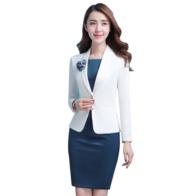 Women White Office Lady Dress Suits 2 Two Piece Sets Elegant Notched