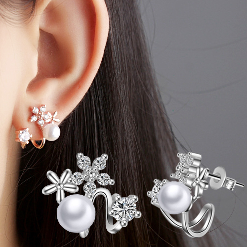Jewelry & Accessories 1pair Fashion Jewelry Earring New Arrival Left And Right Side Round Rhinestones White Artificial Pearls Ear Plug Cuff Nickel