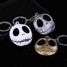 Movie Jewelry The Nightmare Before Christmas Pumpkin King Santa Jack smile Face Keychain Skull Head Skellington Men Key Chain
