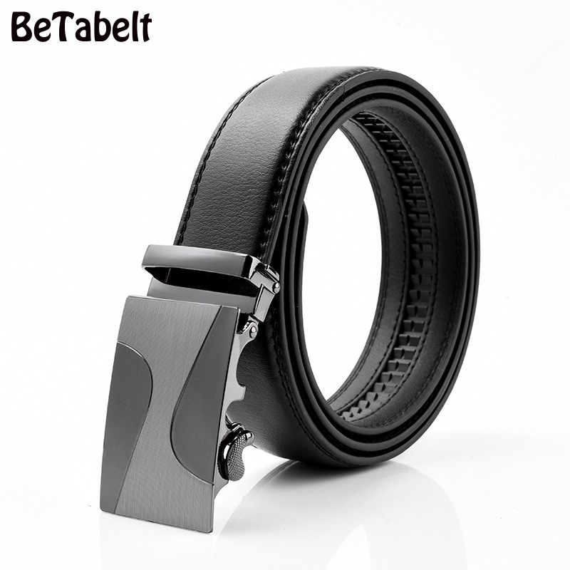 PYBETA Black Leather Belt Men 2018 Automatic Buckle Mens Belt For Jeans Vintage Style Mens Belts Luxury Ceinture Homme