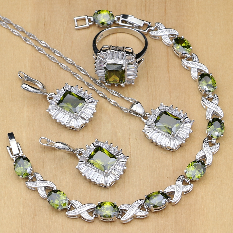 Square Olive Green Zircon 925 Silver Jewelry Sets For Women Party Earrings/Pendant/Rings/Bracelet/Necklace Set Dropshipping