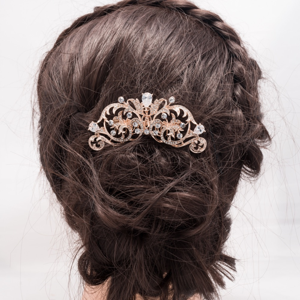 Rose gold wedding hair accessories - Fashion Vintage Style Light Rose Gold Tone Bridal Hair Comb Zircon Flower Hairpin Crystal Wedding Accessories