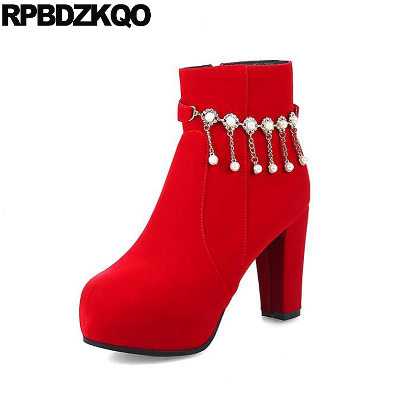 Suede Pearl Bridal Wedding Block Shoes Chinese Women Ankle Boots 2016 Round Toe Booties Chunky Red High Heel Winter Embellished custom metal platform round toe sexy women ankle boots 2016 booties shoes red chunky high heel suede autumn ladies fashion