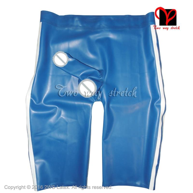Buy Blue White Latex Long Leg Boxer shorts Sexy Rubber pants Penis sheath Rubber pants Hotpants panties KZ-127