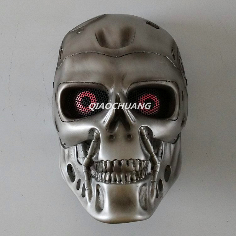 Future Warrior Mask Breathable Full Face Mask Terminator Helmet Halloween Cosplay Horror Human Skeleton Helmet Halloween Props halloween skeleton style cosplay costume face mask gloves set black white