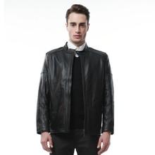 Genuine Sheepskin Leather Jacket Mens Black Jacket 9919