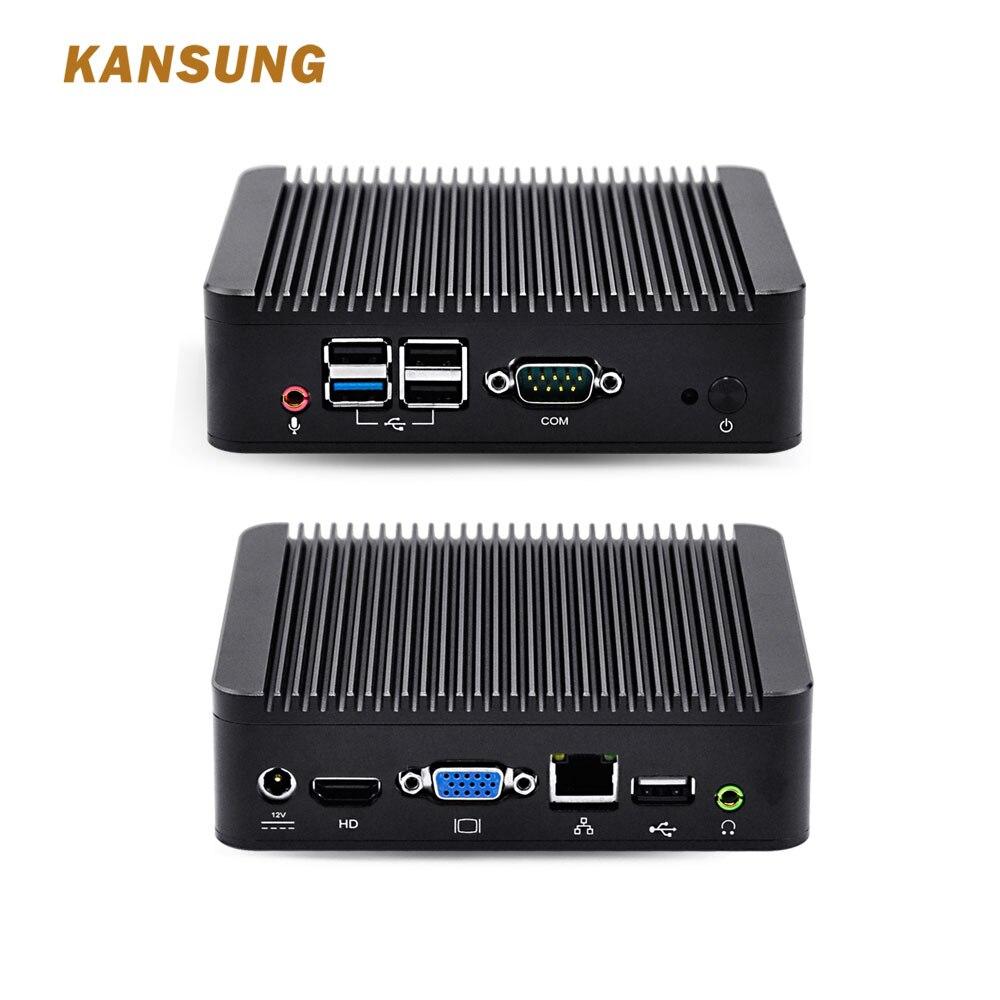 KANSUNG Intel Celeron Bay Trail J1900 Mini Computer Windows 10 Linux Barebone X86 Fanless Mini Desktop Portable Micro PC