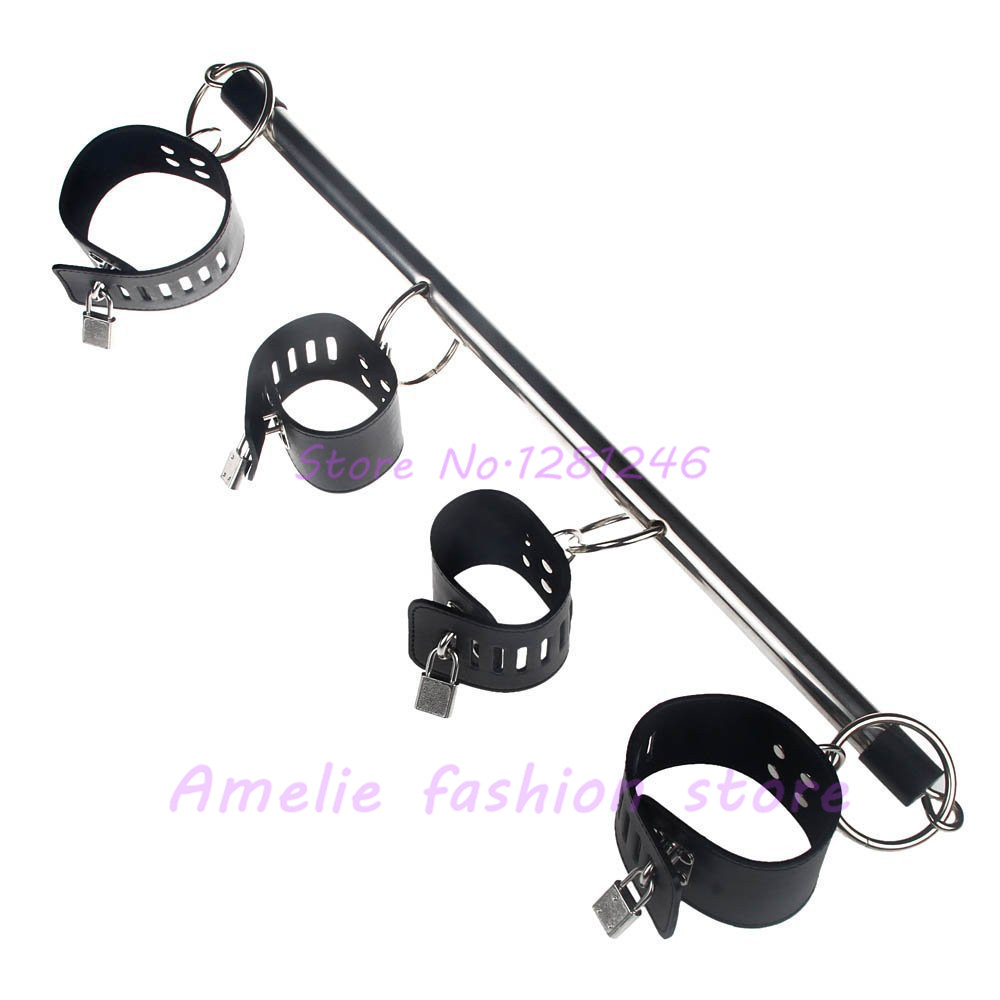 Sm Products Sex Products Restraint Stiff Stainless Steel Metal Spreader Bar With Hand Cuffs Adult Games Sex Products Sex Fun Tools Bundle Bondage Toys Handsome Appearance