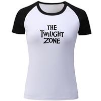 The Twilight Zone Print Ragaln Short Sleeve T Shirt Women Red Black Patchwork T Shirt For