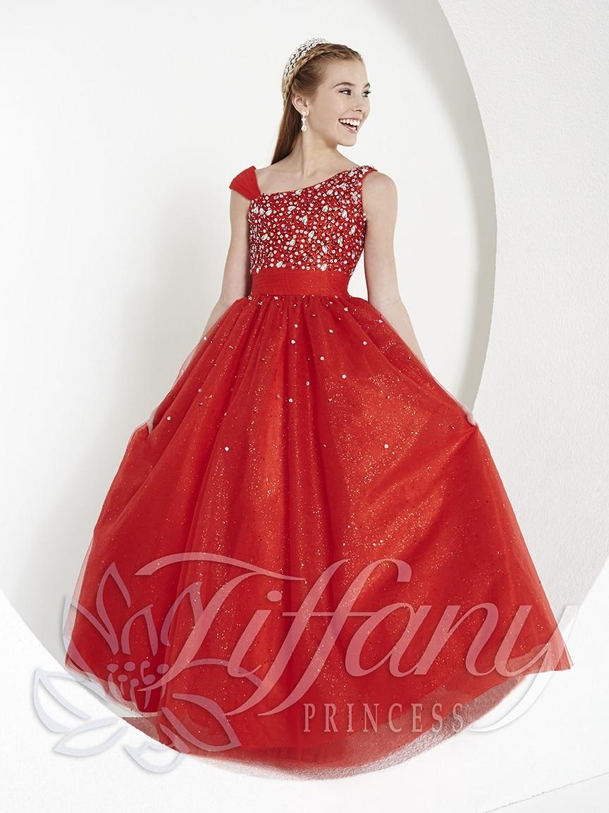 Hot Red One-shoulder Floor Length Sequined Tulle Flower Girl Dress Junior Bridesmaid Dress Girls Dress For Wedding/ Party