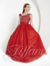 Hot Red One shoulder Floor Length Sequined Tulle Flower Girl Dress Junior Bridesmaid Dress Girls Dress