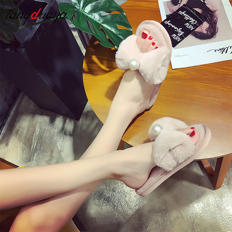 pearl bow slippers women home shoes for women winter slippers indoor home slippers ladies flats shoes pantuflas de mujer 2018 concise platform and bow design slippers for women