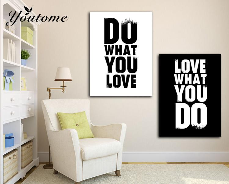 2 Pieces Painting Do what you love Inspiration Quote English Canvas Print Picture Fashion for Home Office Wall Decor