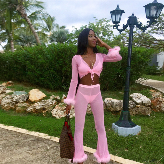 Adogirl Solid Pink Feather Chiffon 4 Piece Set Long Sleeve Cardigan + Bra Top + Thong + Flare Pants Women Sexy Club Outfits Suit 1