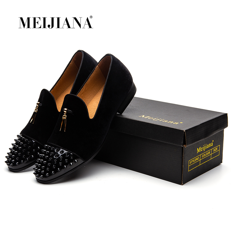 MEIJIANA hombres mocasines negro gamuza tiburón dientes borla Zapatillas Zapatos de lujo vestido planos zapatos de banquete de cuero genuino Slip on-in Mocasines from zapatos    2