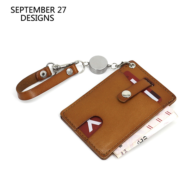 Bus Card Case Retractable Japan Korea Style First Layer Cowhide Leather Identity Credit Card Id Holders Tag Bus Card Holder