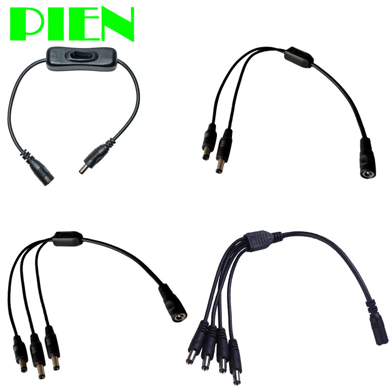 DC Power Switch Extension Splitter Male to Female 5.5mm x 2.1mm 2 in 1 / 3 in 1 / 4 in 1 connector for led strip power supply rp sma female to y type 2x ip 9 ms156 male splitter combiner cable pigtail rg316 one sma point 2 ms156 connector for lte yota