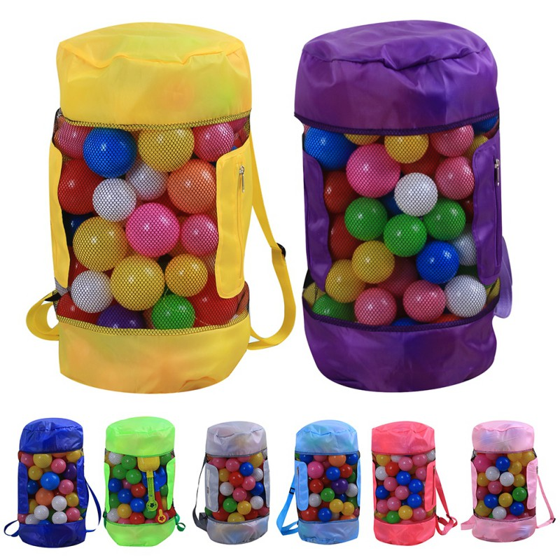 Large Mesh Beach Bag Folding Pool Toys Storage Backpack Durable Drawstring Sack Swimming Toy Storage