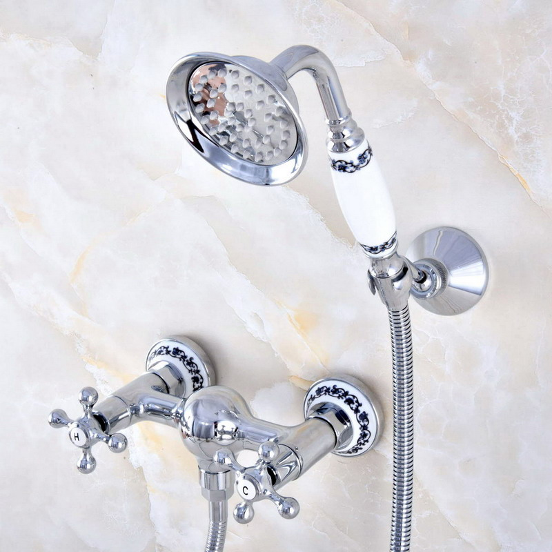 Wall Mount Polished Chrome Brass Bathroom Two Cross Handles Hand Shower Faucet Mixer Tap Set Telephone Shape Hand Spray ana772Wall Mount Polished Chrome Brass Bathroom Two Cross Handles Hand Shower Faucet Mixer Tap Set Telephone Shape Hand Spray ana772