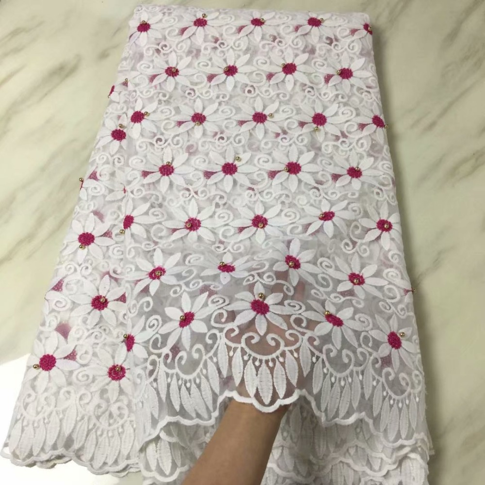 Blesing White Lace Fabric Embroidery High Quality African Tulle Lace With Beads Bride Wedding Nigerian Lace Fabric In White
