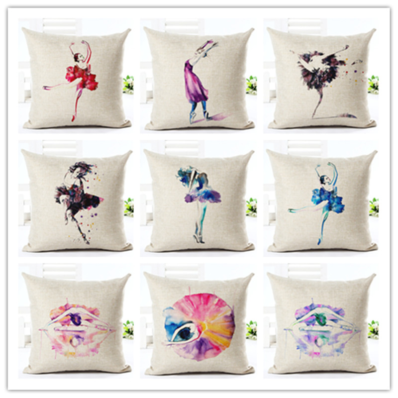 High Quality Creative Fashion Dancing Girl Chair Pillow Cushion Cover Home Decorative Printed Throw Pillowcase Cojines Almofada