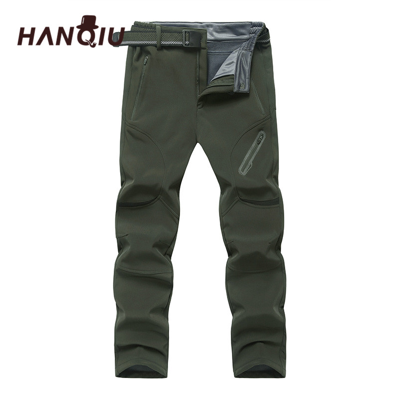 HANQIU Waterproof Pants Mens Trousers Outwear Big-Size 9XL Softshell Fleece Quick-Dry