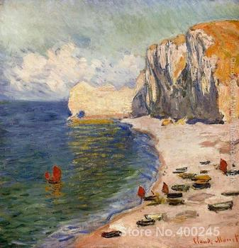 Christmas Gift art on Canvas The Beach And The Falaise D Amont by Claude Monet Painting High Quality Handmade