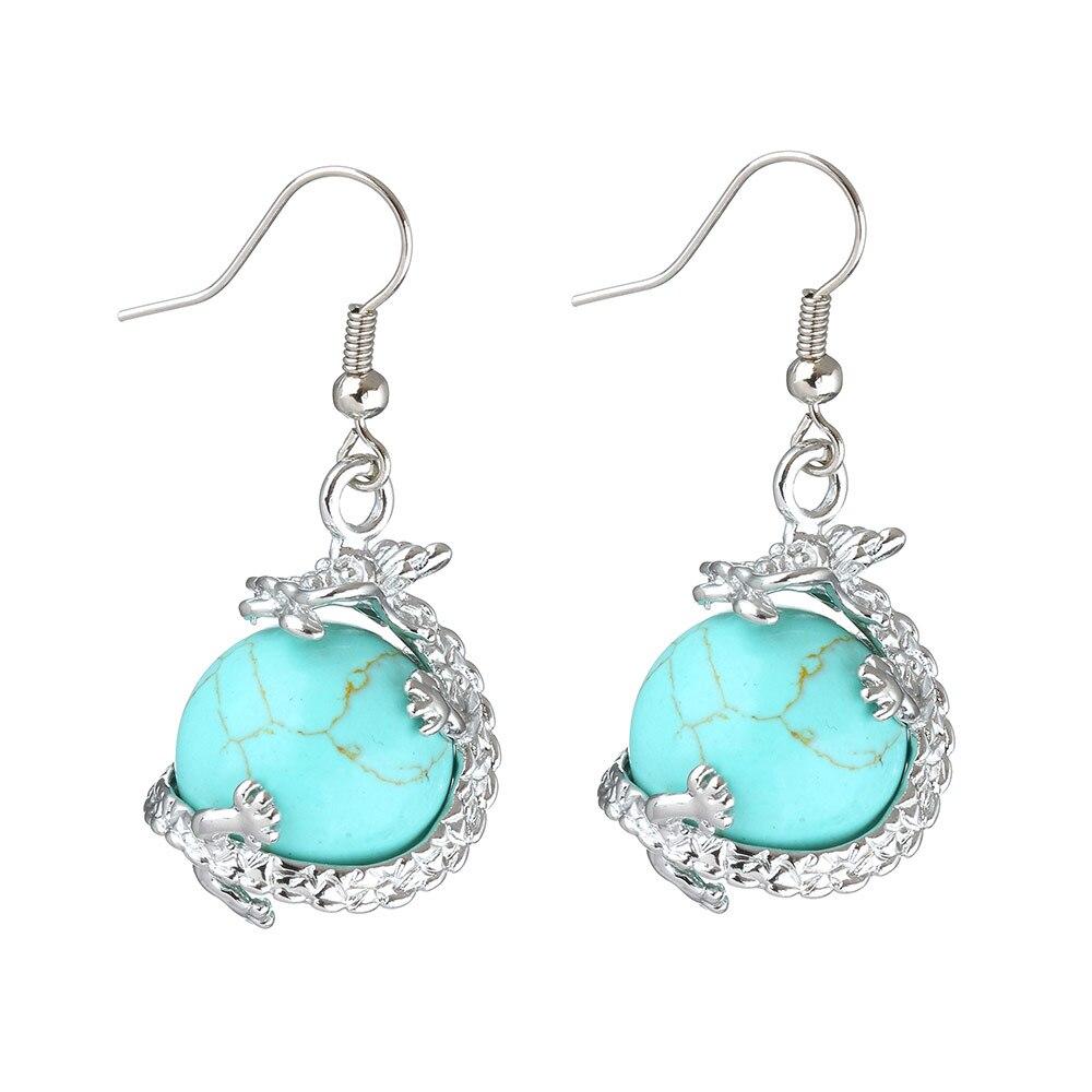 YYW Natural Stones Crystal Quartz Opal Ball Dangle ...
