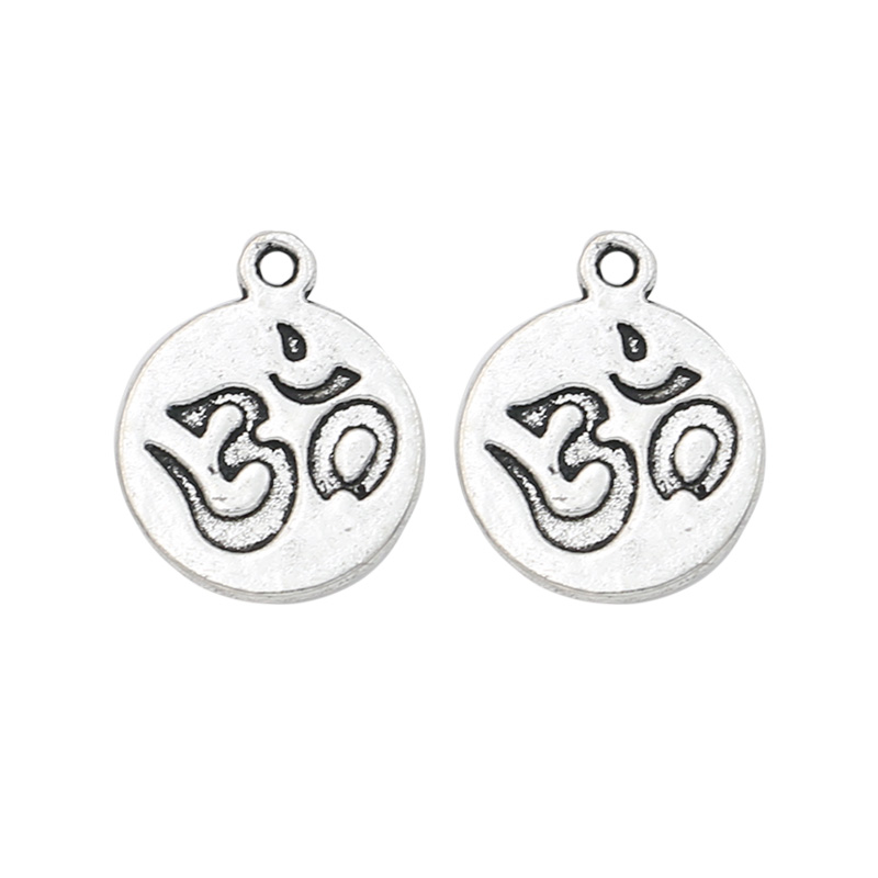 10pcs Yoga Sign Charm Pendant fit Bracelet Necklace Tibetan Silver Plated Jewelry DIY Making Accessories 15mm