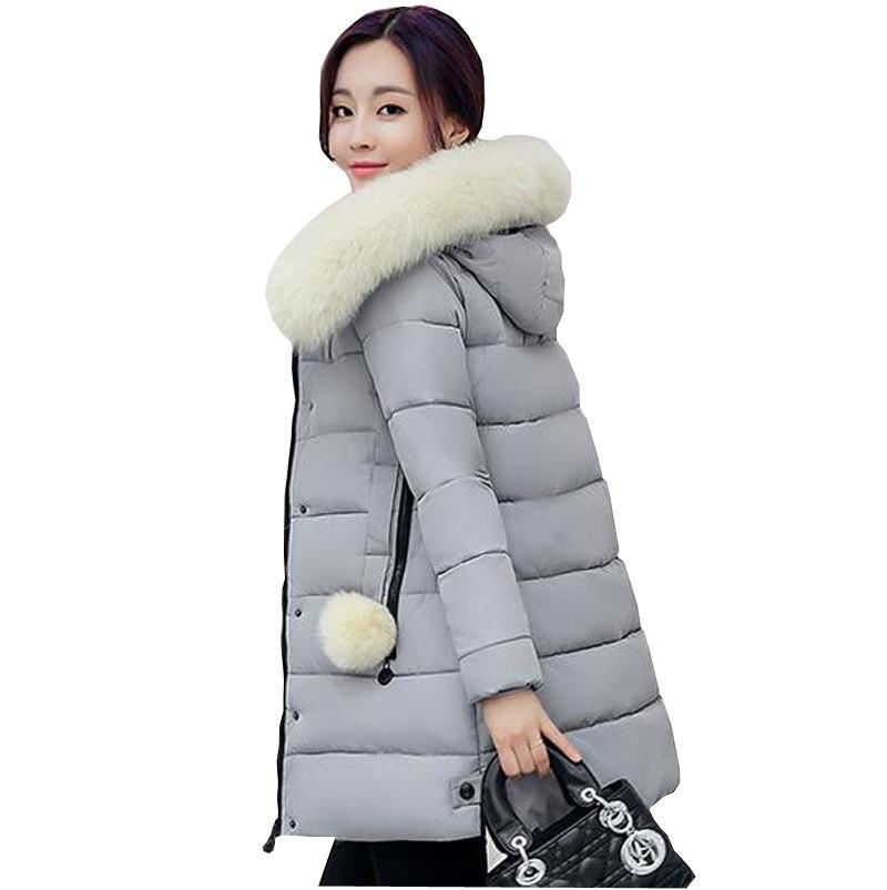 ФОТО women's winter jackets 2016 new medium long down cotton parka plus size coat slim faux fur collar hooded female outerwear kp0922